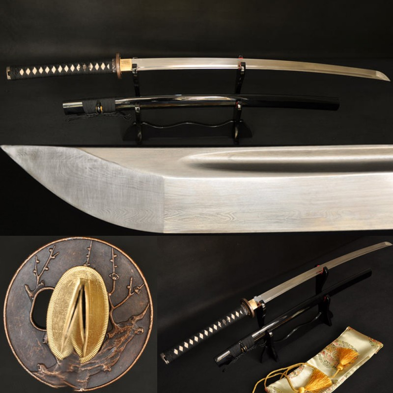Fully Hand Forged Damascus Steel Oil Quenched Blade Tree Koshirae Japanese Samurai Sword Katana