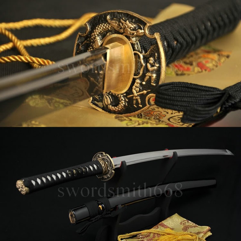 Fully Hand Forged Damascus Steel Oil Quenched Blade Dragon Koshirae Japanese Samurai Sword KATANA