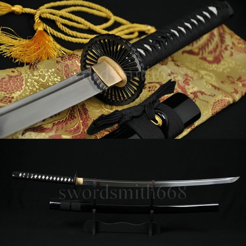 Fully Hand Forged Damascus Steel Oil Quenched Blade Wheel Koshirae Japanese Samurai Sword Katana