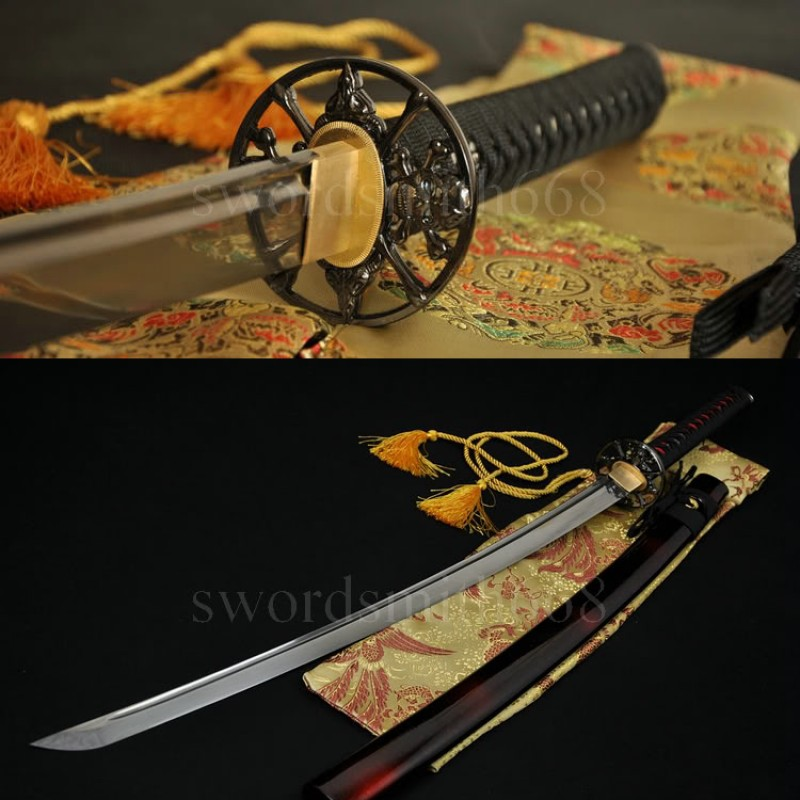 Hand Forged Damascus Steel Oil Quenched Blade Skull Tsuba Japanese Samurai Sword Katana