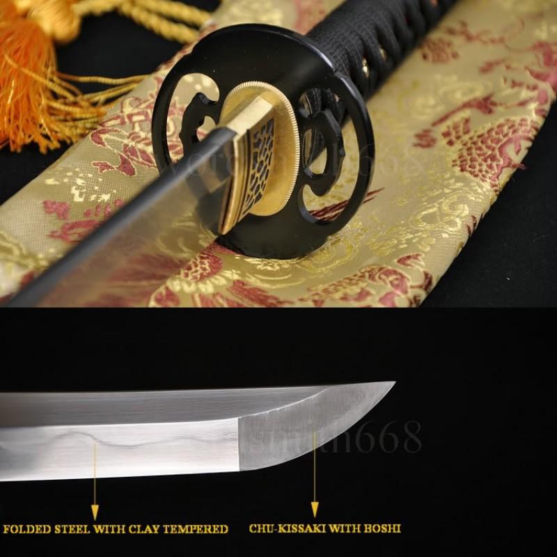 Fully Hand Forged Japanese Sword Katana Damascus Steel Clay Tempered Full Tang Blade Iron Koshirae
