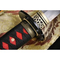 Fully Hand Forged Japanese Sword Damascus Steel Clay Tempered Full Tang Blade Iron Koshirae