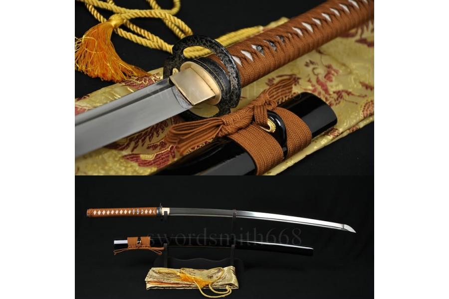 O Katana Japanese Samurai Sword Folded Steel Iron Tsuba Full Tang Sharp
