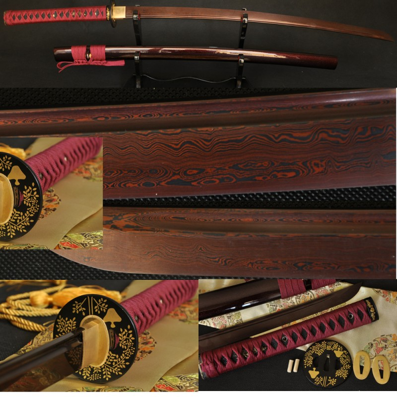 Hand Forged Black&Red Damascus Oil Quenched Full Tang Blade Iron Koshirae Japanese Samurai KATANA Sword