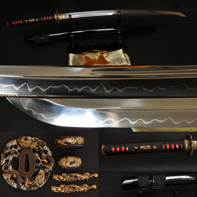 Japanese Samurai Dragon Sword KATANA Unokubi-Zukuri Full Tang Clay tempered Blade