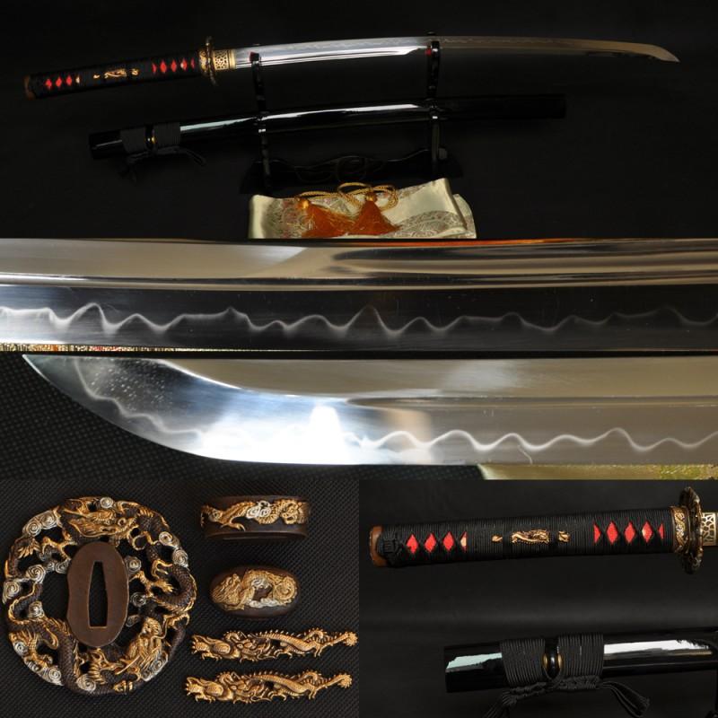 Japanese Samurai Dragon Sword KATANA Unokubi-Zukuri Full Tang Clay tempered Blade