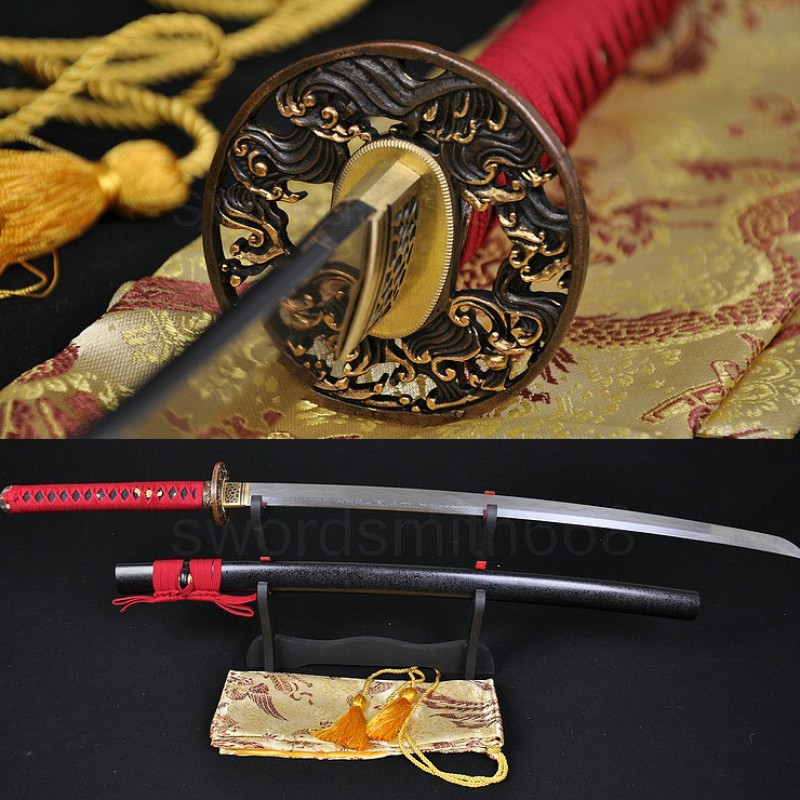 Fully Hand Forged Damascus Steel Clay Tempered Blade Wave Koshirae Japanese Samurai Sword Katana