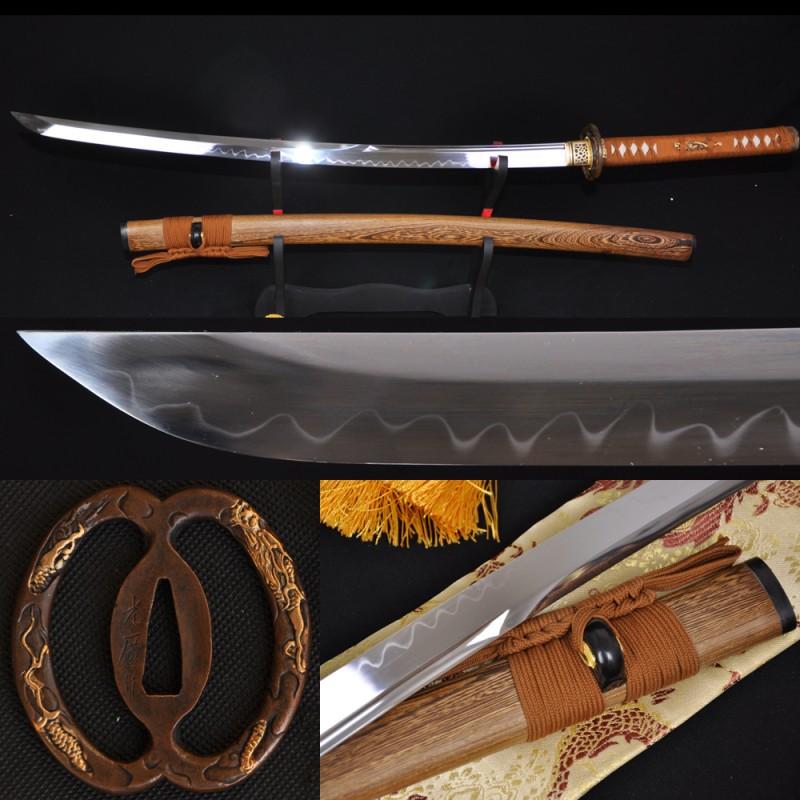 Hand Made Japanese Samurai Sword KATANA Unokubi-Zukuri Full Tang Clay tempered Blade