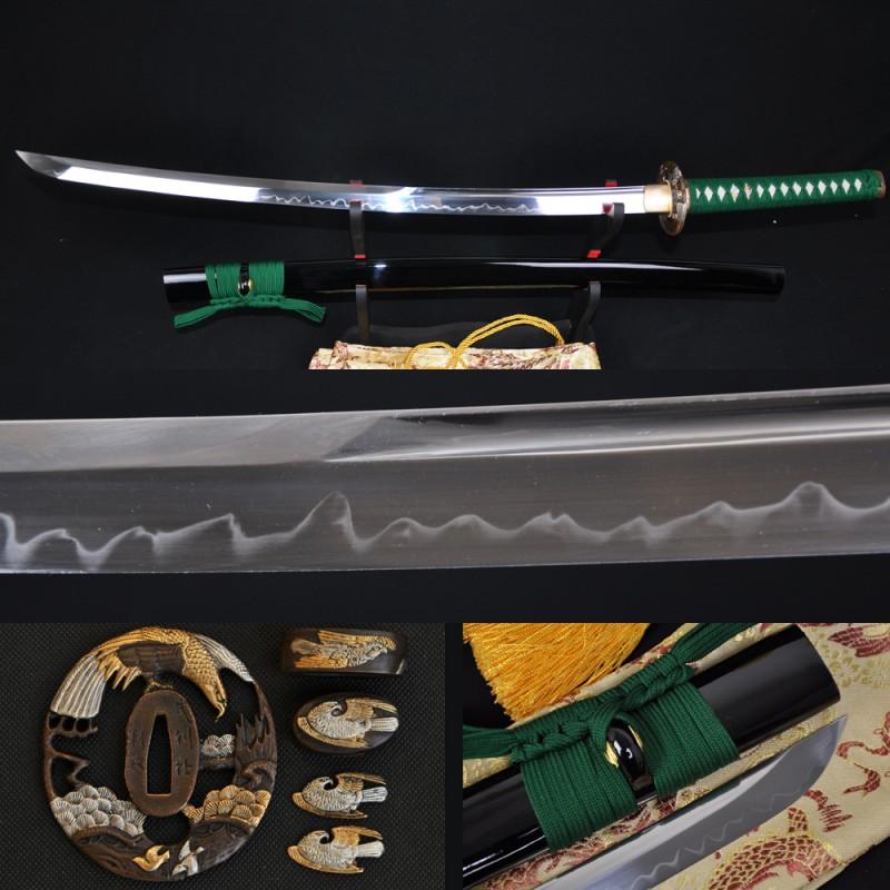 Green Tsuka-ito Japanese Samurai Sword KATANA Unokubi-Zukuri Full Tang Clay tempered Blade