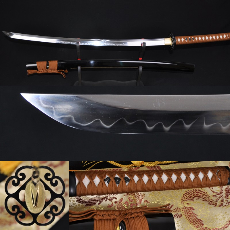 Japanese Samurai Sword KATANA Unokubi-Zukuri Full Tang Clay tempered Full Tang Blade