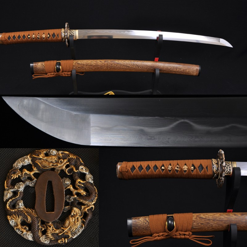 Fully Hand Forged Damascus Steel Clay Tempered Blade Dragon Koshirae Japanese Samurai Sword Wakizashi