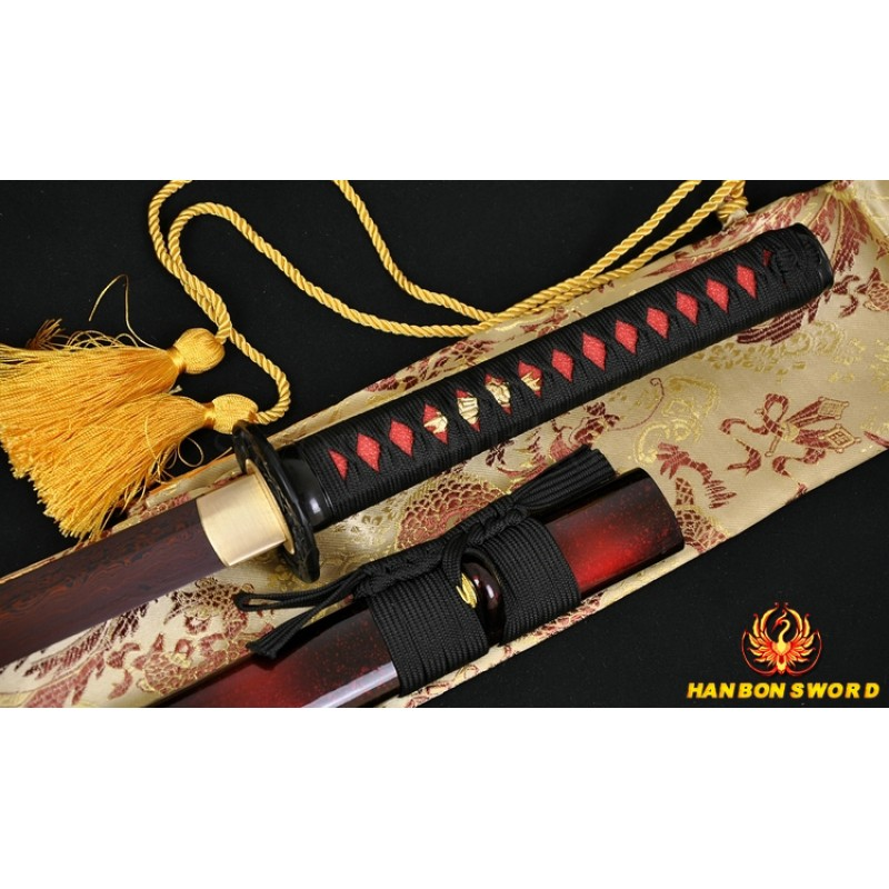 Hand Forged Black&Red Oil Quenched Damascus Oil Quenched Full Tang Blade Japanese Ninja Sword