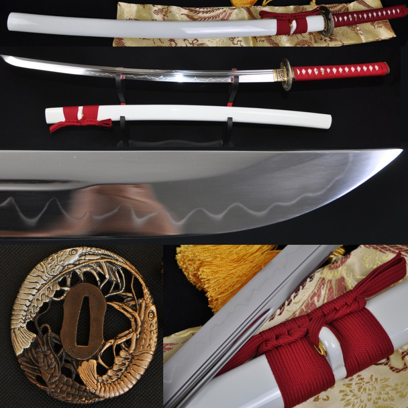 Japanese Samurai Sword KATANA Unokubi-Zukuri Full Tang Clay tempered Blade