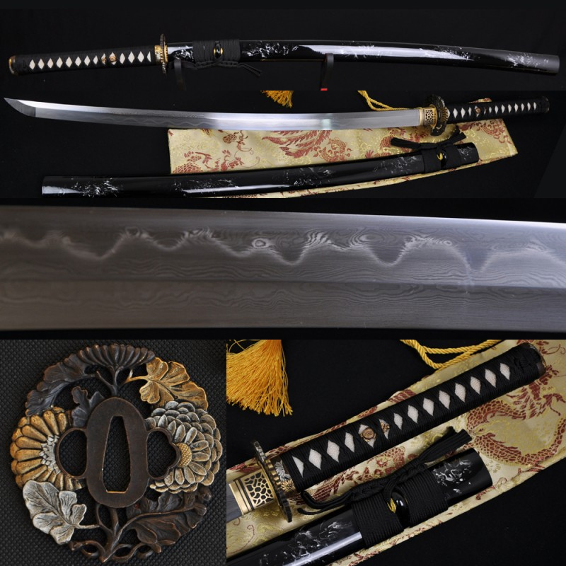 Fully Hand Forged Damascus Steel Clay Tempered Full Tang Blade Japanese Samurai Sword KATANA