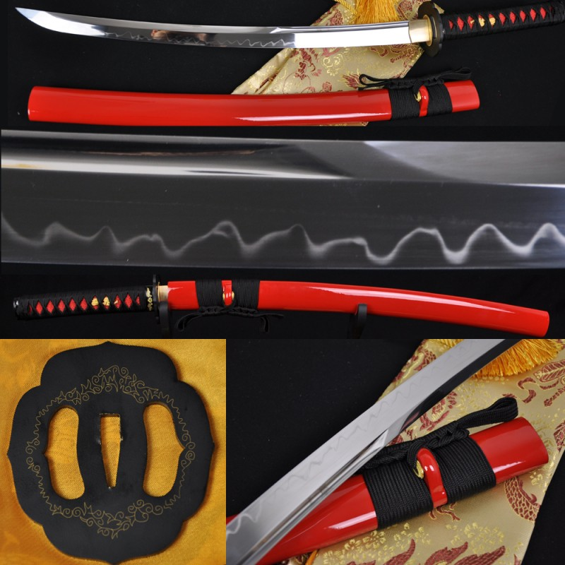 Japanese Samurai Sword Wakizashi Sword Unokubi-Zukuri Full Tang Clay tempered Blade