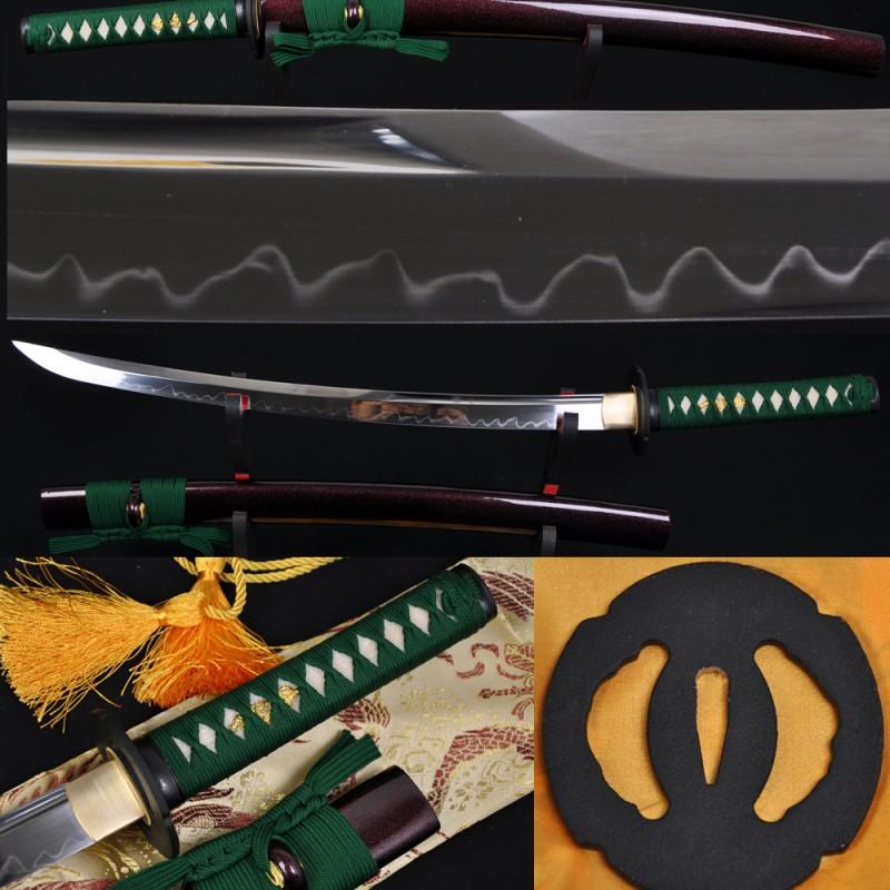 Japanese Samurai Sword WAKIZASHI Unokubi-Zukuri Full Tang Clay tempered Blade