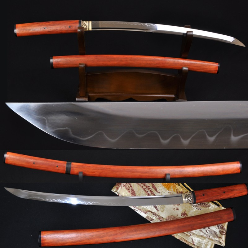Japanese Samurai Sword Wakizashi SHIRASAYA Unokubi-Zukuri Full Tang Clay tempered Blade Very Sharp