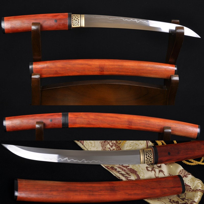 Hand Made Japanese Samurai Shirasaya Sword TANTO Clay Tempered Blade Red Wood SAYA&HANDLE
