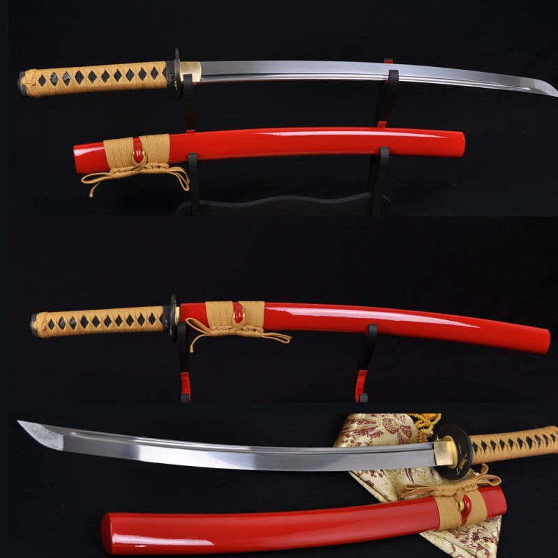 Lion Koshiare Damascus Steel Oil Quenched Full Tang Blade Japanese Samurai Sword WAKIZASHI