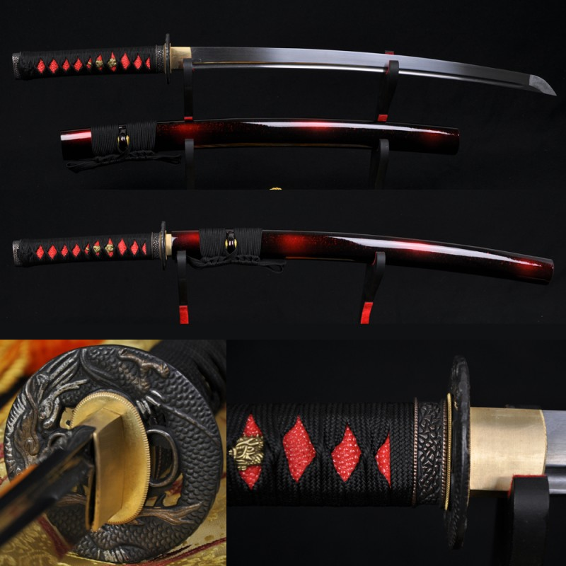 Dragon Koshirae Damascus Steel Oil Quenched Full Tang Blade Hand Made Japanese Samurai Sword WAKIZASHI