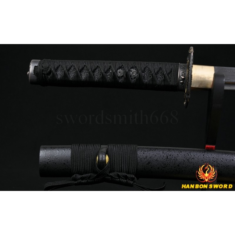 Fully Hand Forged Damascus Steel Oil Quenched Full Tang Blade Japanese Samurai Sword Wakizashi