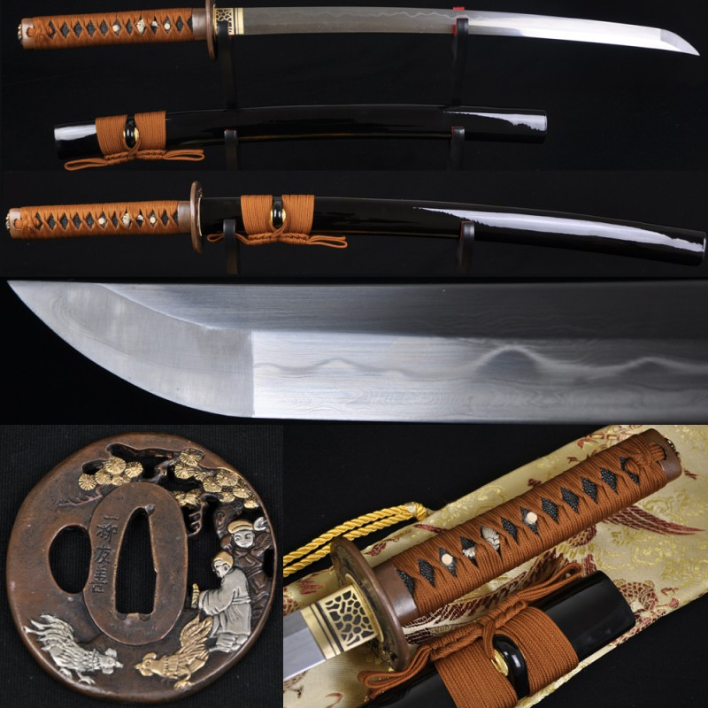 Fully Hand Forged Damascus Steel Clay Tempered Blade Japanese Samurai Sword Wakizashi