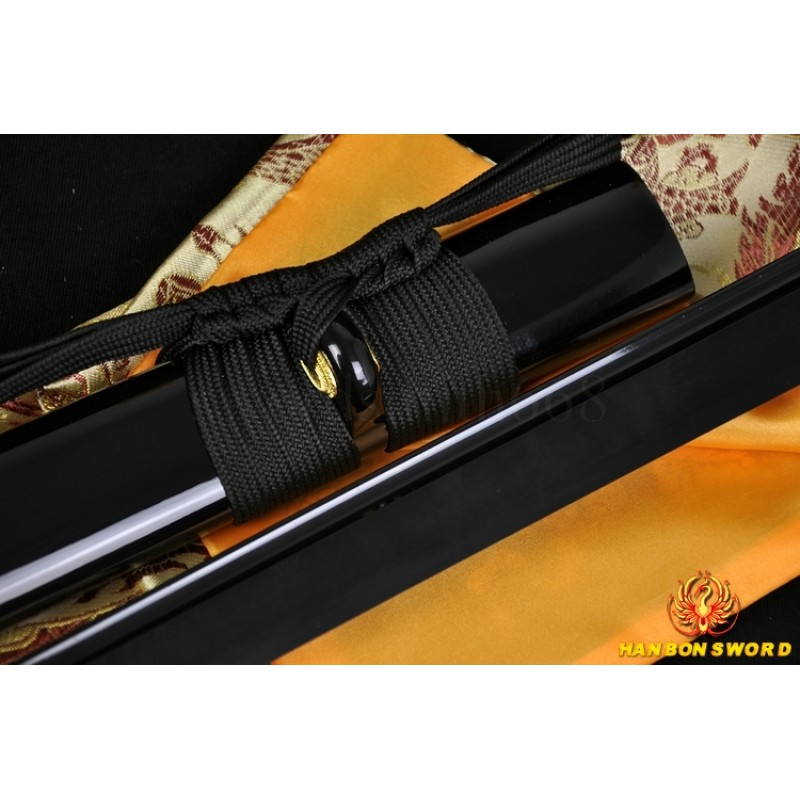 Japanese ninja sword black Blade Oil Quenched Full Tang traditional handmade