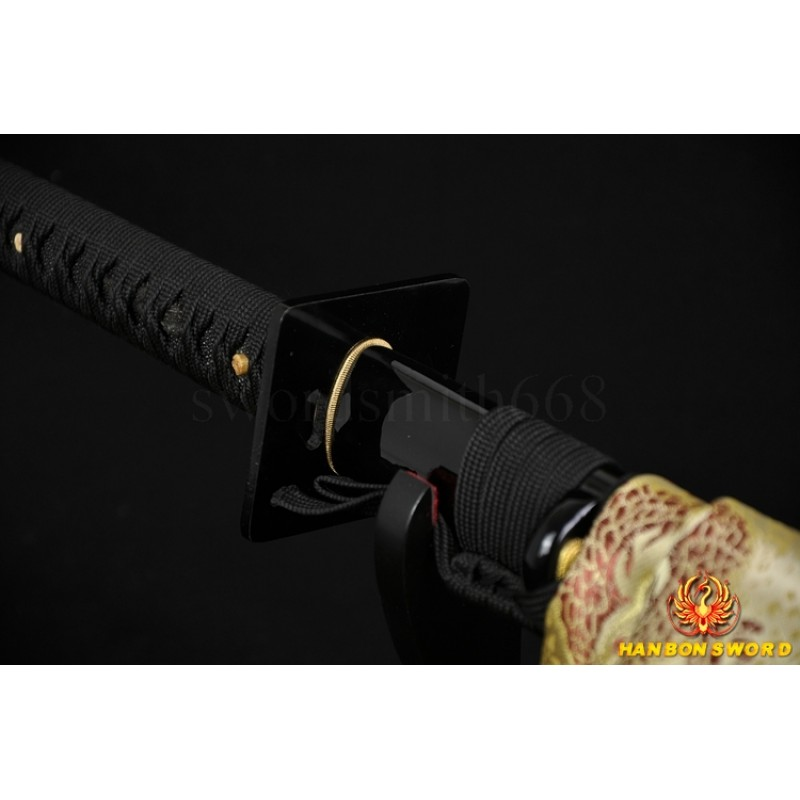 JAPANESE NINJA SWORD BLACK Blade Oil Quenched FULL TANG BLADE
