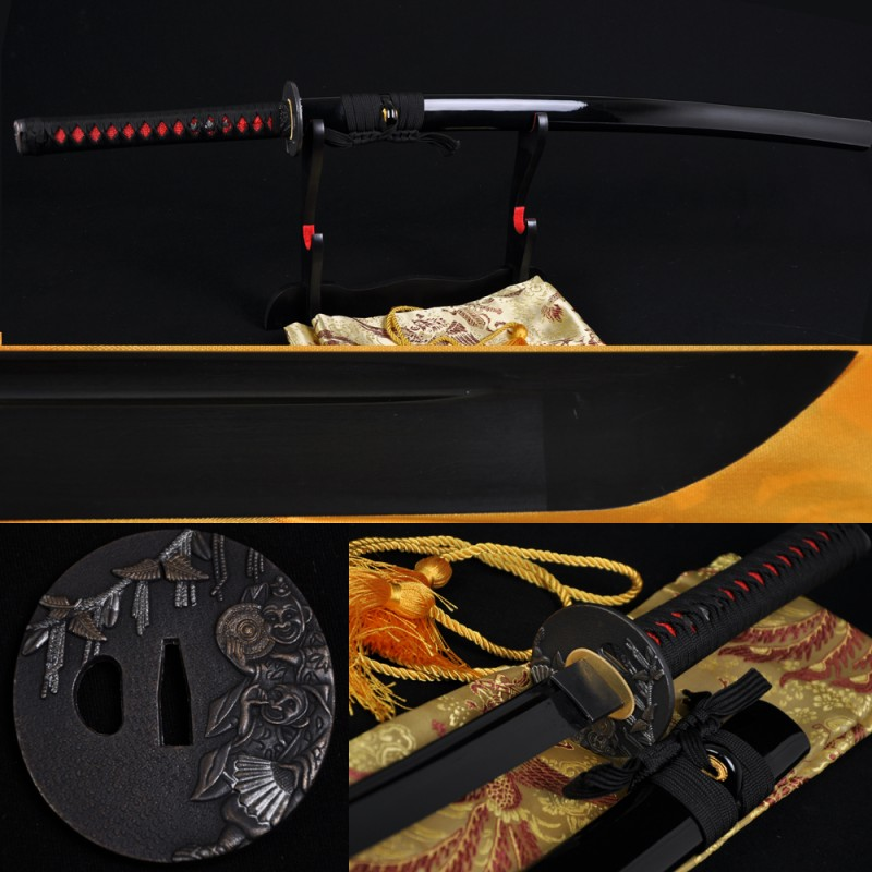JAPANESE BLACK KATANA SWORD Oil Quenched FULL TANG BLADE CAN CUT TREES