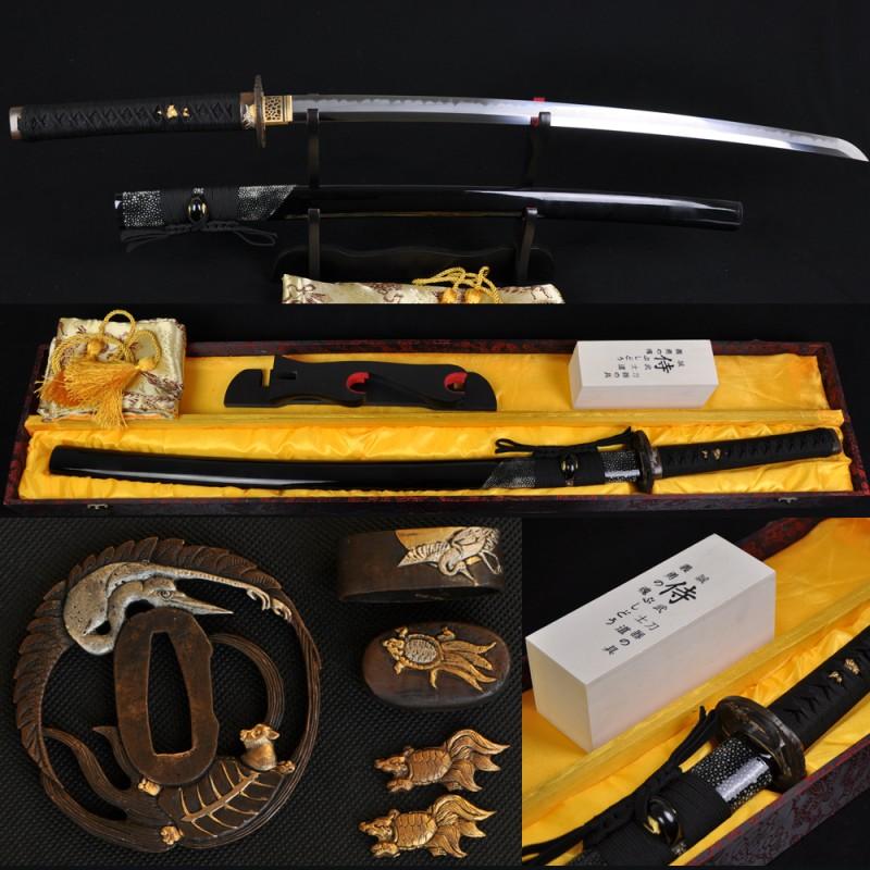 Hand Forged Full Tang Blade Clay Tempered HAZUYA Polished Japanese Samurai Sword Katana