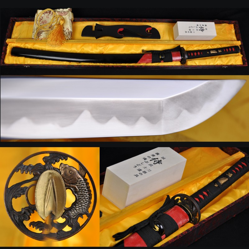 HIGH QUALITY JAPANESE SAMURAI SWORD KATANA HAZUYA POLISHED FISH KOSHIRAE