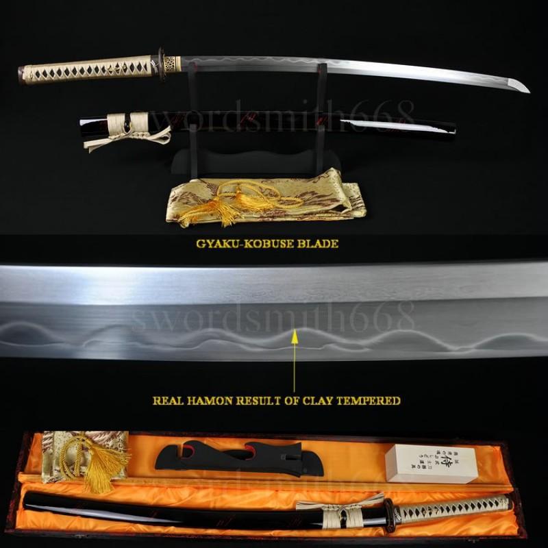 Top Quality Japanese Sword Katana Kobuse Full Tang Blade Dragonfly Koshirae