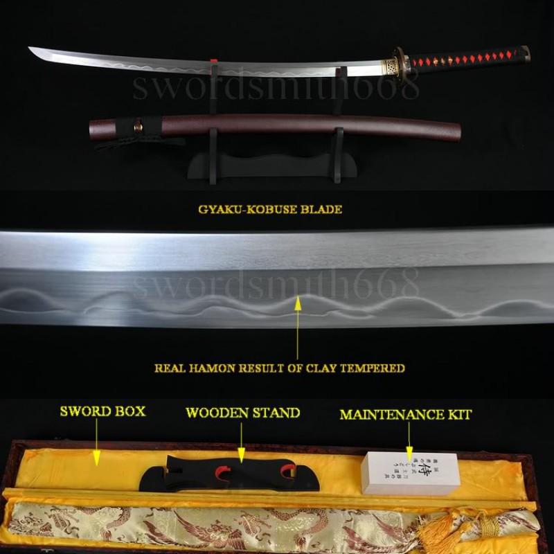 TOP QUALITY JAPANESE SWORD KATANA KOBUSE FULL TANG BLADE WOLF KOSHIRAE