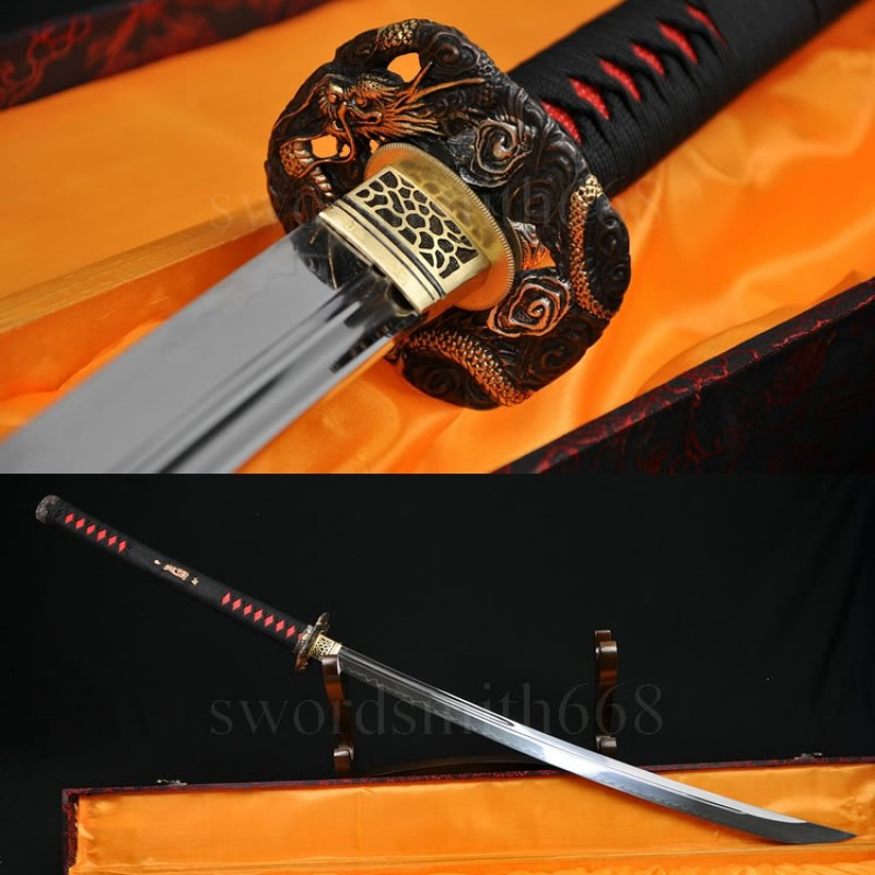 TRADITIONAL HAND FORGED NAGINATA JAPANESE SAMURAI SWORD CLAY TEMPERED BLADE VERY SHARP