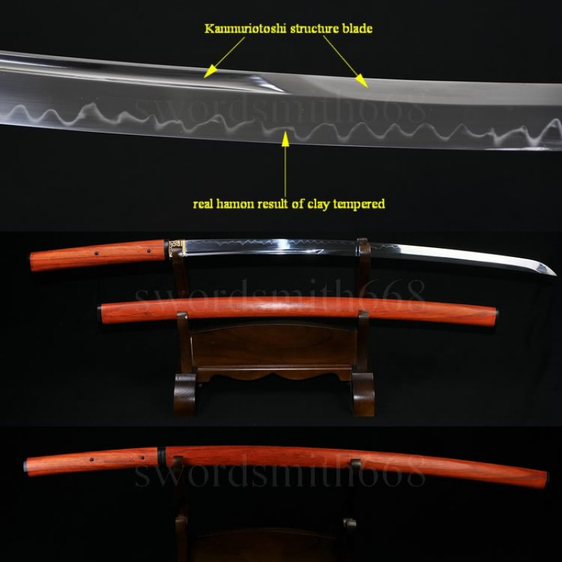Traditional Hand Forged Japanese Shirasaya Sword Katana T10 Steel Clay Tempered Full Tang Blade Red Wood SAYA&Handle