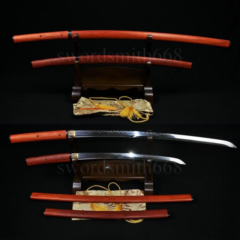 Traditional Hand Forged Japanese Shirasaya Sword Set (KATANA+WAKIZASHI) T10 SteeL Oil Quenched Full Tang Blade