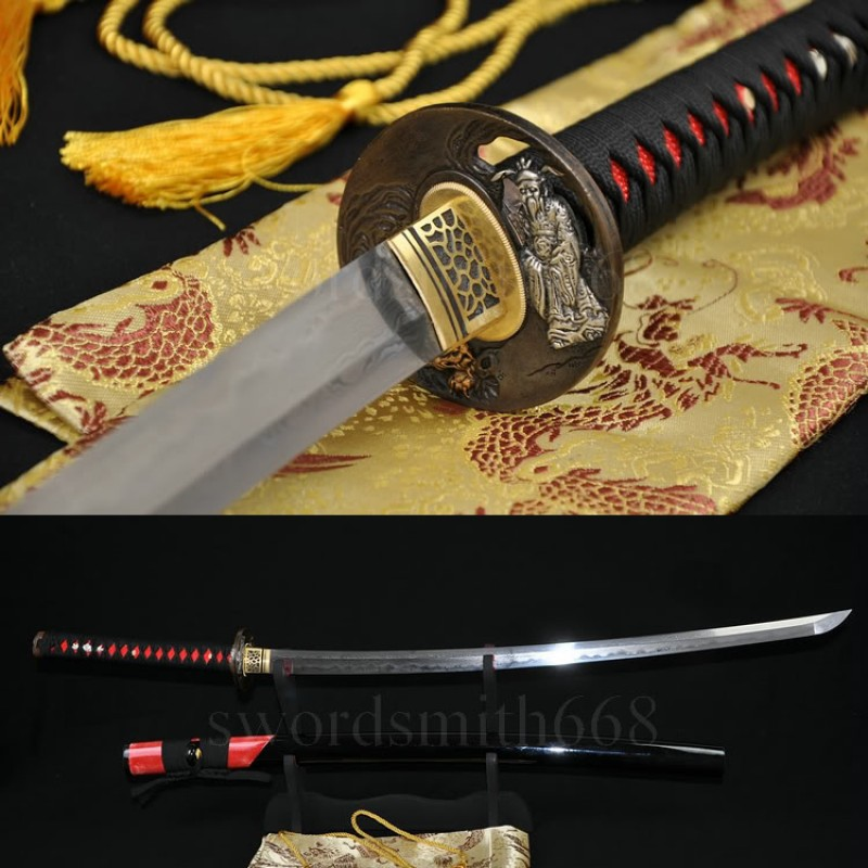 Fully Hand Forged Damascus Steel Clay Tempered Blade Rayskin Saya Japanese Samurai Sword Katana