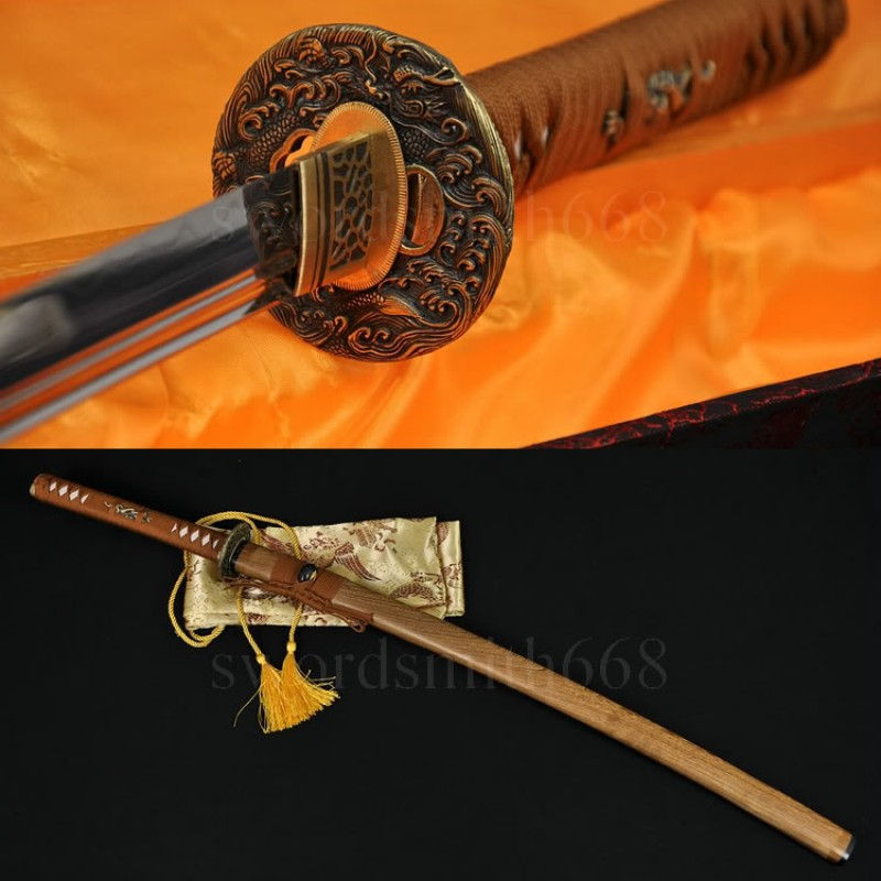 Japanese Samurai Dragon Sword KATANA Unokubi-Zukuri Full Tang Clay tempered Blade Very Sharp