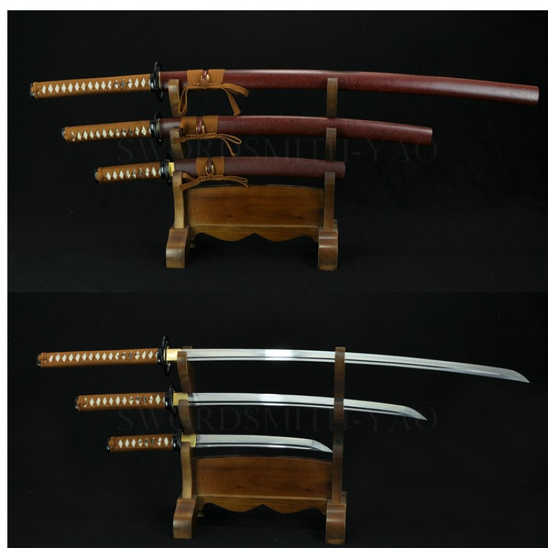 High Quality Japanese Sword Set (KATANA+WAKIZASHI+TANTO) High Caron Steel Oil Quenched Full Tang Blade