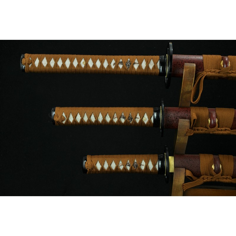 High Quality Japanese Sword Set  High Caron Steel Oil Quenched Full Tang Blade