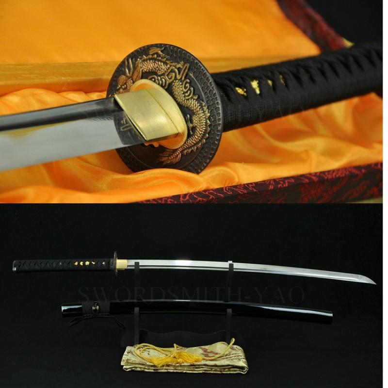 Fully Hand Forged Damascus Steel Oil Quenched Full Tang Blade Dragon Koshirae Japanese Samurai Sword Katana