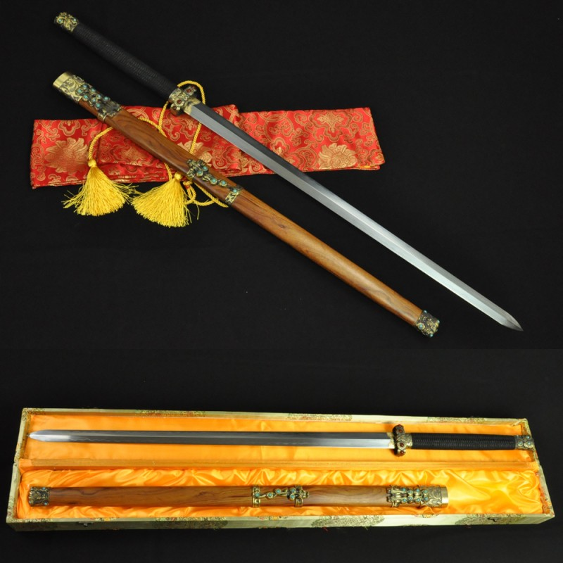 HIGH QUALITY HAND MADE CHINESE SWORD Qin JIAN FOLDED STEEL CLAY TEMPERED BLADE