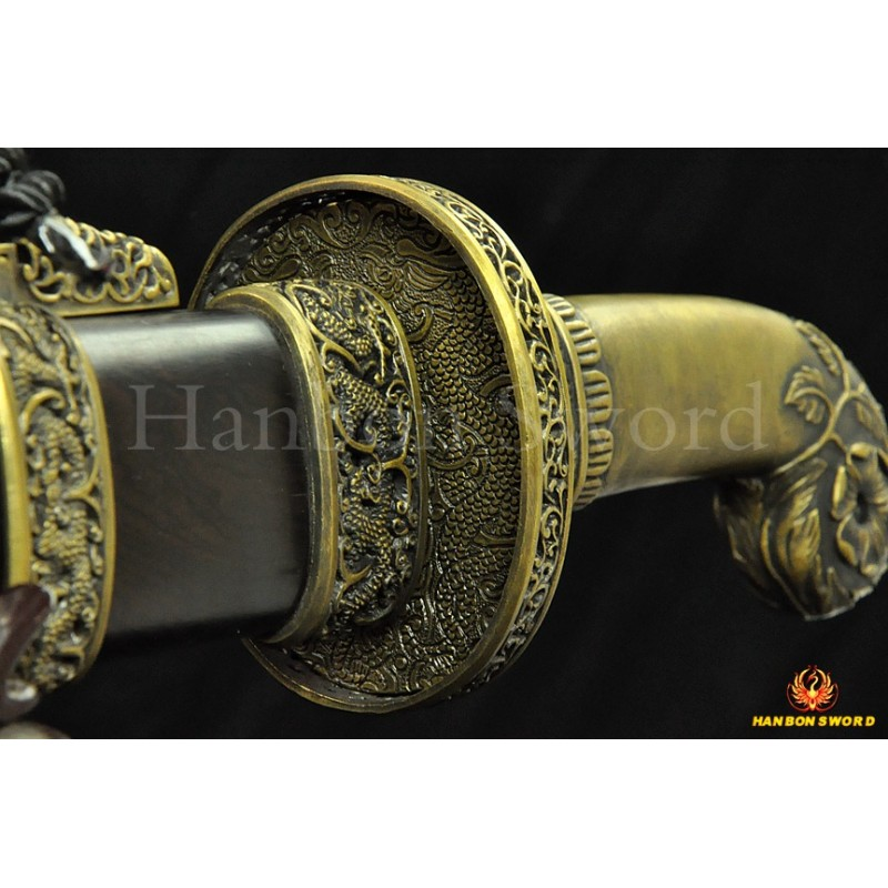 Traditional Hand Forged Chinese Sword Qing Dao Folded Steel Clay Tempered Blade HAZUYA Polished Razor