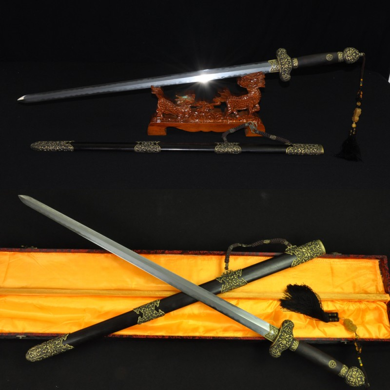 Traditional Hand Forged Chinese Sword Jian Folded Steel Clay Tempered Blade Feather Grain