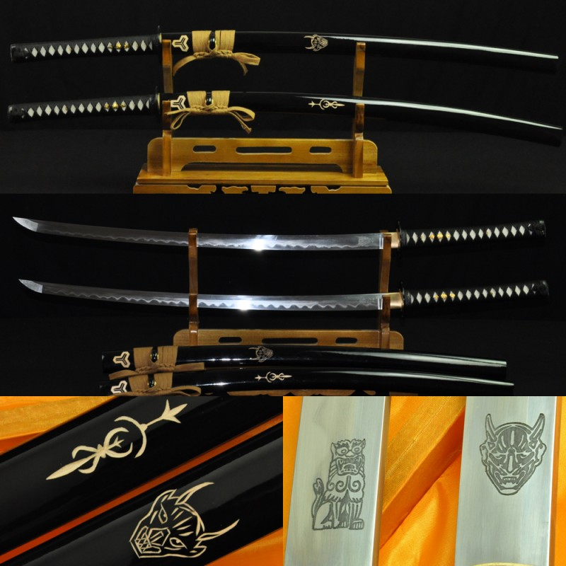 Kill Bill Sword Set (BILL+BRIDE SWORDS) Damascus steel clay tempered blade