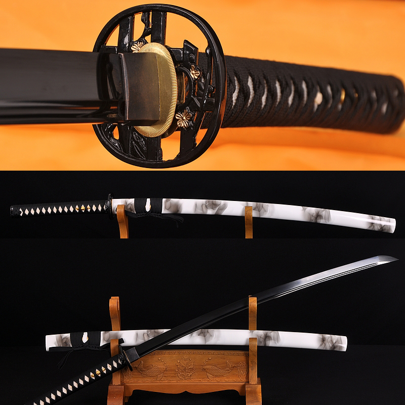 HAND MADE JAPANESE SAMURAI SWORD KATANA BLACK STEEL Oil Quenched FULL TANG BLADE VERY SHARP