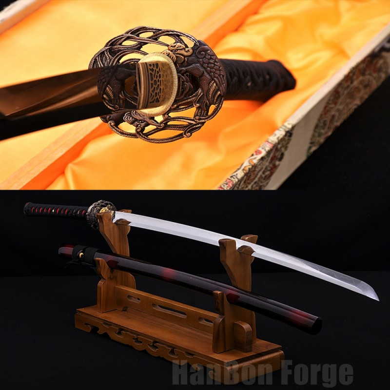 Japanese Katana Sword Full Tang Folded Pattern Steel Blade With High-quality Copper Accessories Real Samurai Sword