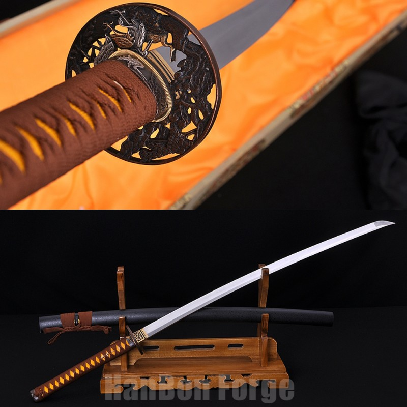 Japanese Katana Handmade Samurai Sword Folded Pattern Steel Blade With Copper Tsuba