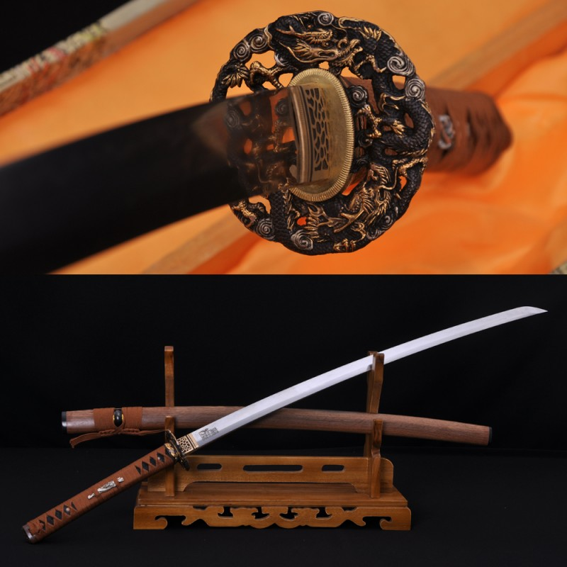 Hand Forged Damascus Steel Clay Tempered Blade Dragon Hawk Koshirae Hualee Saya Japanese Samurai Sword Katana