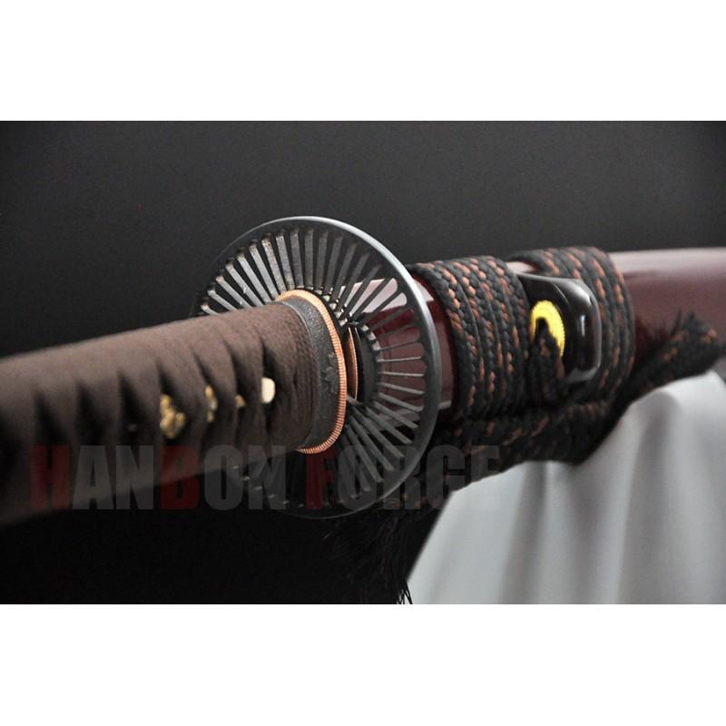 Handmade Japanese samurai sword 1095 steel full tang blade with buffalo horn saya